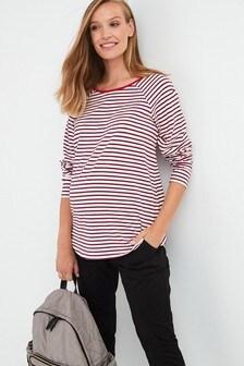 Breton Stripe Maternity Long Sleeve Cotton T-Shirt