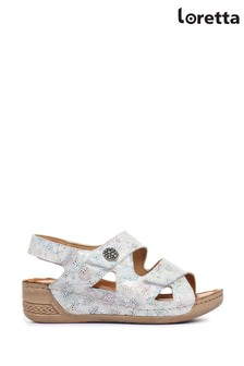 Loretta White Fully Adjustable Sandals