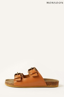 Monsoon Tan Lola Double Strap Leather Sandals