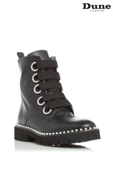 Dune London Black Purla Pearl Detail Ankle Boots