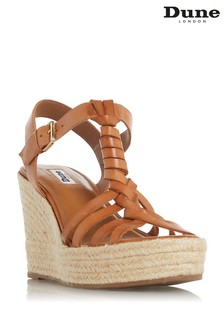 Dune London Brown Kofu Espadrille Wedge Sandals