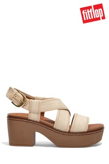 FitFlop Pilar Straw Raffia Black Strap Platform Sandals