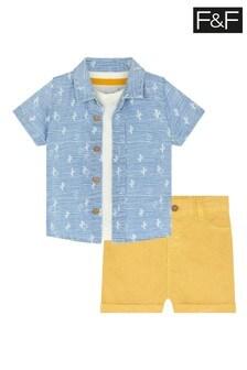 F&F Woven Palm Shirt 3 Piece Set
