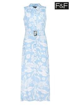 F&F Blue Floral Shirt Dress