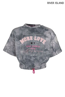 River Island Grey Tie Dye More Love T-Shirt