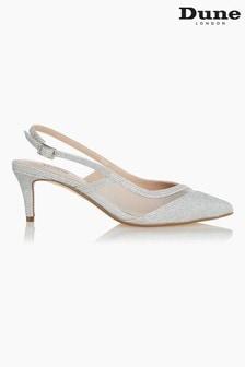 Dune London Metallic Dillia Sparkle Mesh Kitten Heel Shoes
