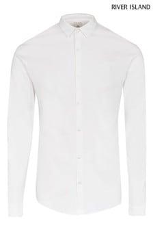 River Island White Mercerised Muscle Shirt