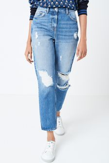 Dark Blue Ripped Mom Jeans