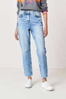 Mid Blue Womens Mom Jeans