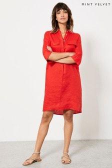 Mint Velvet Red Linen Shirt Dress