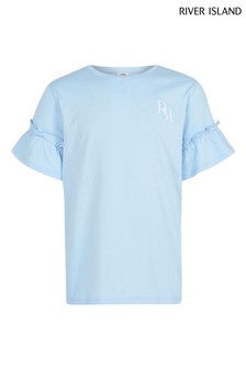 River Island Blue Slogan Ruffle Sleeve T-Shirt