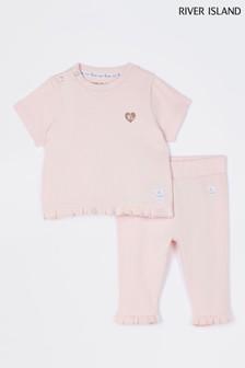 River Island Pink Light Frill Variegated Rib T-Shirt And Leggings Set