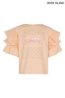 River Island Coral Ruffle Sleeve Bling T-Shirt