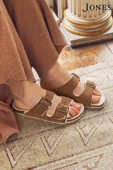 Jones Bootmaker Tan Lia Suede Ladies Mules Slippers Sandals
