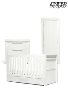 White 3 Piece Mamas & Papas Franklin Cot Bed Range with Dresser and Single Wardrobe