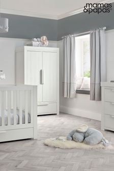 White 3 Piece Mamas & Papas Franklin Cot Bed Range with Dresser and Wardrobe
