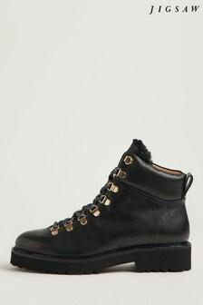 Jigsaw Black Burnham Leather Lace-Up Boots