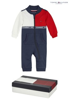 Tommy Hilfiger Blue Baby Colourblock Onsie Giftbox