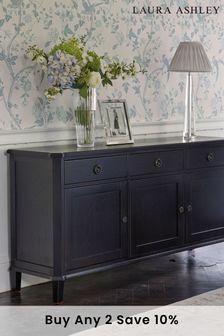 Black Henshaw Black 3 Door 3 Drawer Sideboard by Laura Ashley