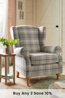 Versatile Check Nevis Grey Sherlock Armchair With Light Legs