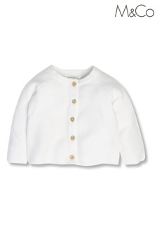 M&Co White Pearl Knit Cardigan