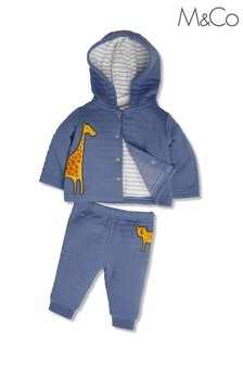 M&Co Blue Giraffe Hoodie And Jogger Set