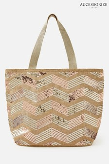 Accessorize Gold Large Tote Bag