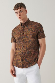 Brown Printed Short Sleeve Shirt
