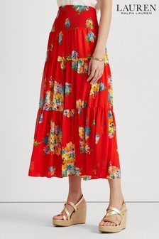 Lauren Ralph Lauren Red Floral Vinnea Midi Skirt