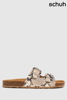 Schuh Brown Trust Leather Double Buck Sandals