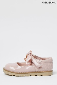 River Island Pink Bow One Bar Chunky Shoes