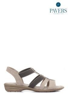 Pavers Brown Stretch Fit Flat Ladies Sandals