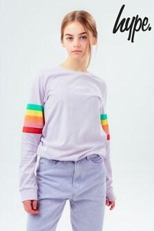 Hype. Girls Lilac Rainbow Sleeve Long Sleeve T-Shirt