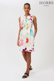 Hobbs White Linen Daria Dress