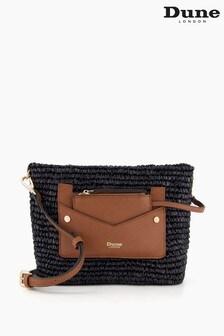 Dune London Black Davenporte Small Raffia Cross-Body Bag