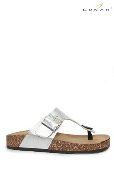 Lunar Silver Honor Metallic Toe Post Mule Sandals