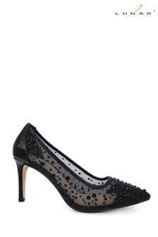 Lunar Black Argo Mesh Court Shoes