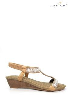 Lunar Tan Ebony Pearl 'T' Bar Wedge Sandals