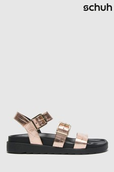 Schuh Bronze Chaser Croc Leather Chunky Buckle Sandals