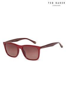 Ted Baker Burgundy Classic Sunglasses With Hidden Geometric Print