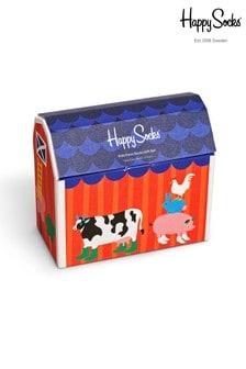 Happy Socks Kids Blue Farm Socks 5 Pack Gift Set