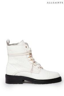 AllSaints White Lira Snake Print Boots