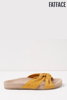 FatFace Yellow Zoe X Strap Footbed Sliders