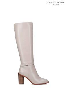 Kurt Geiger London Cream Ruby Knee Boots