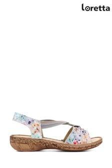 Loretta White Ladies Wide Fit Leather Sandals