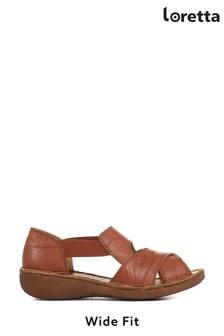 Loretta Tan Ladies Wide Fit Flat Leather Sandals