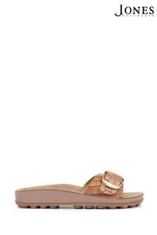 Jones Bootmaker Tan South Beach Ladies Buckle Mule Sandals