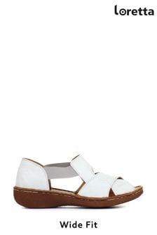 Loretta Ladies White Wide Fit Flat Leather Sandals