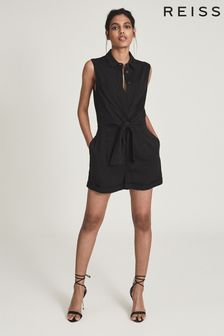 Reiss Black Gemma Playsuit With Self Tie Bow Detail