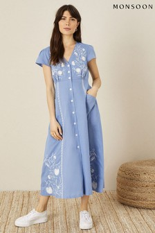Monsoon Blue Embroidered Linen Blend Midi Dress